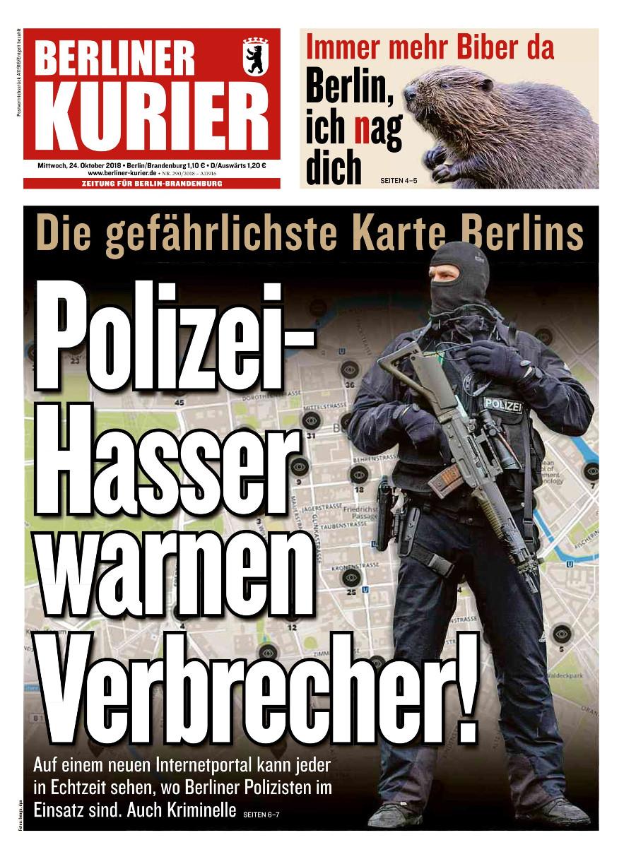 Titelseite des Berliner Kuriers vom 24.10.2018: 'Polizeihasser warnen Verbrecher'